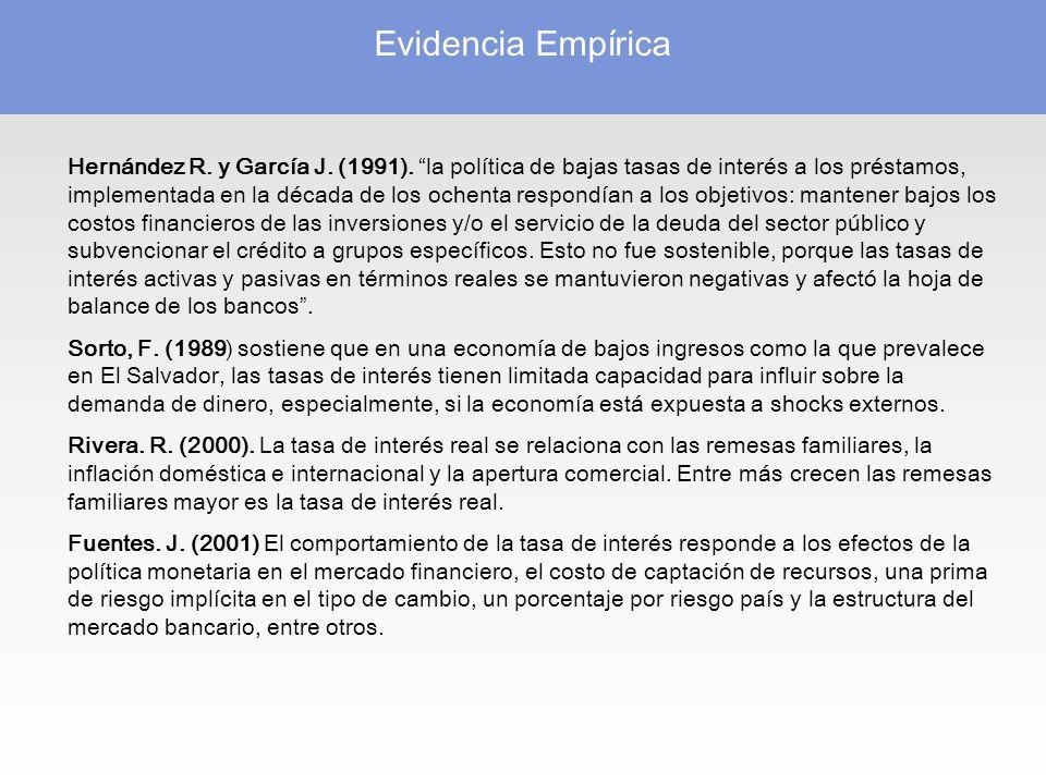Evidencia Empírica Hernández R.y García J. (1991).