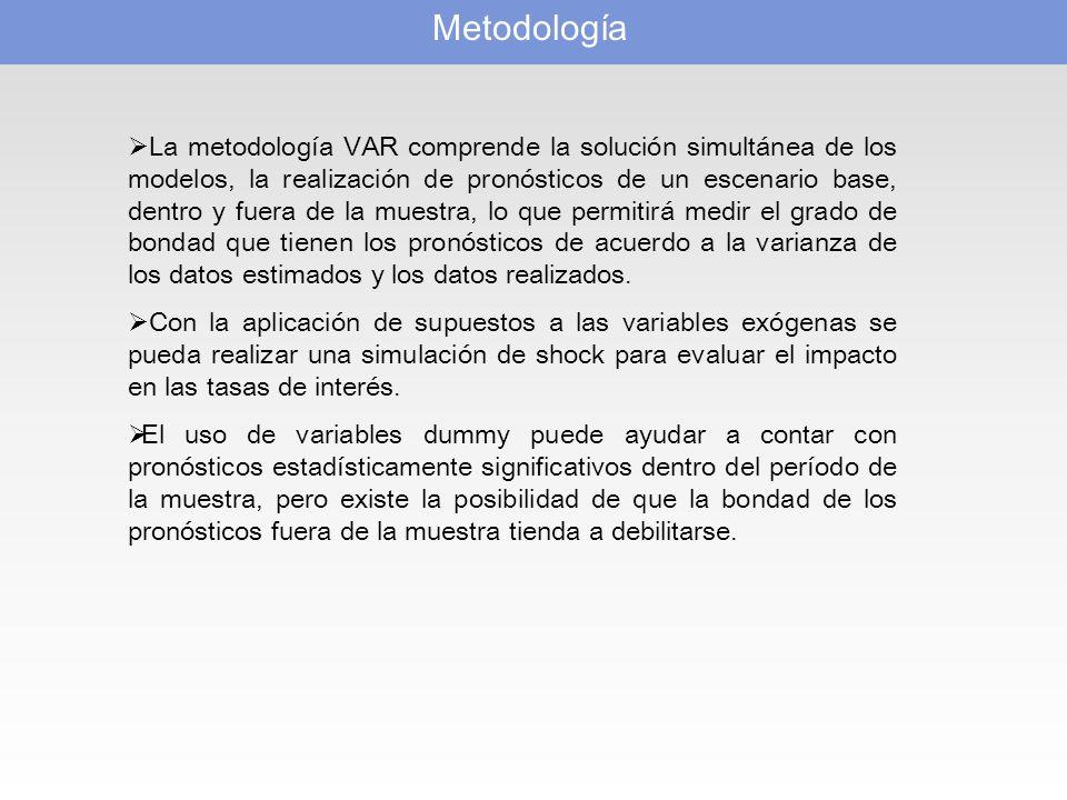 Metodología La metodología VAR comprende la solución simultánea de los modelos, la realización de pronósticos de un escenario base, dentro y fuera de la muestra, lo que permitirá medir el grado de bondad que tienen los pronósticos de acuerdo a la varianza de los datos estimados y los datos realizados.