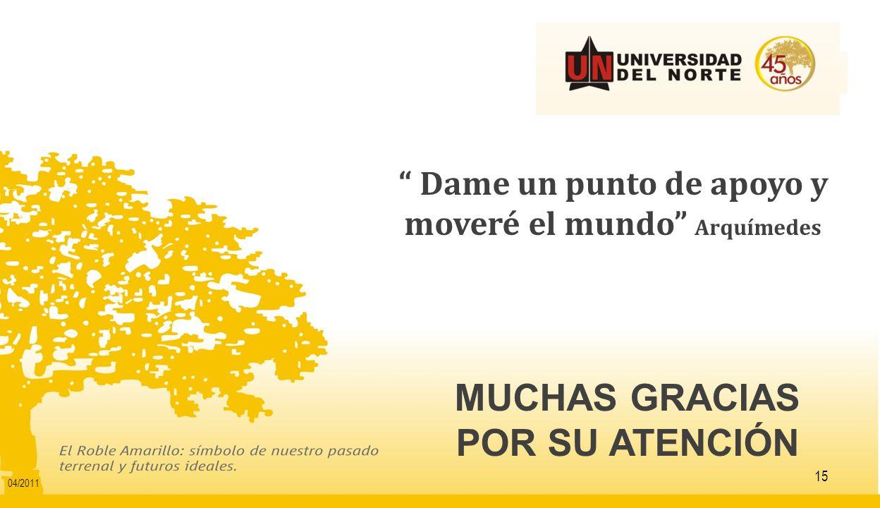 MUCHAS GRACIAS POR SU ATENCIÓN 15 Dame un punto de apoyo y moveré el mundo Arquímedes 04/2011