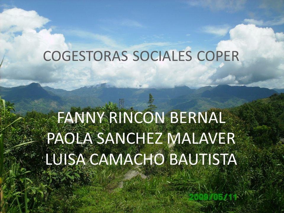 COGESTORAS SOCIALES COPER FANNY RINCON BERNAL PAOLA SANCHEZ MALAVER LUISA CAMACHO BAUTISTA