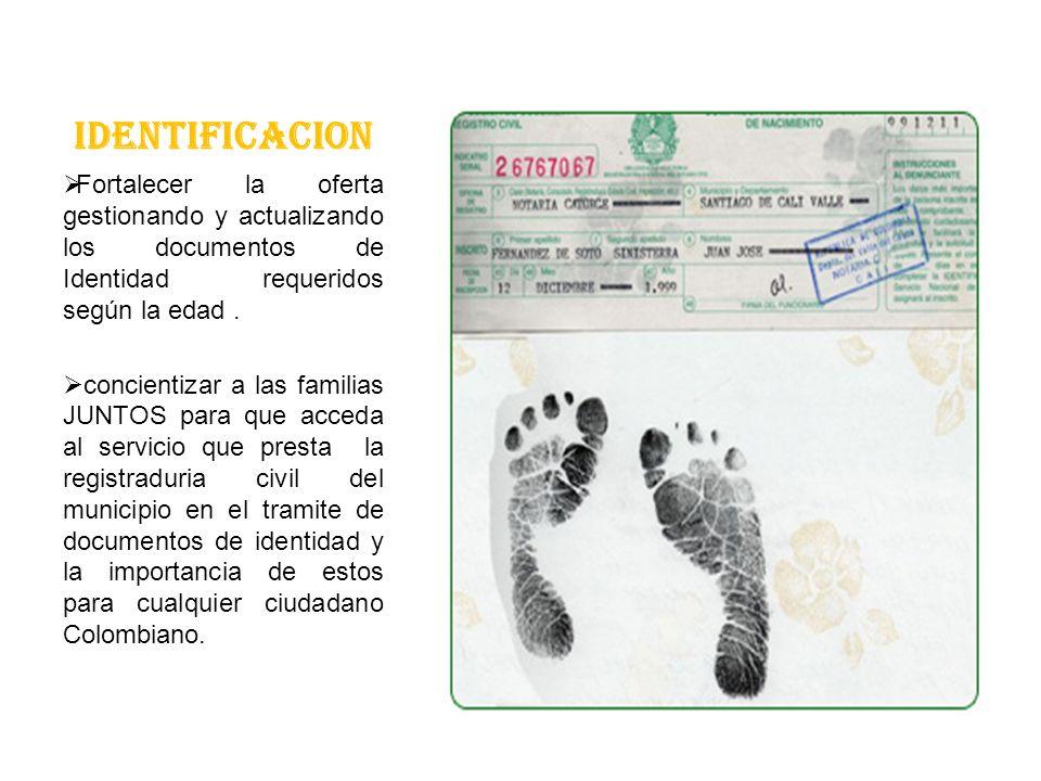 IDENTIFICACION Fortalecer la oferta gestionando y actualizando los documentos de Identidad requeridos según la edad.