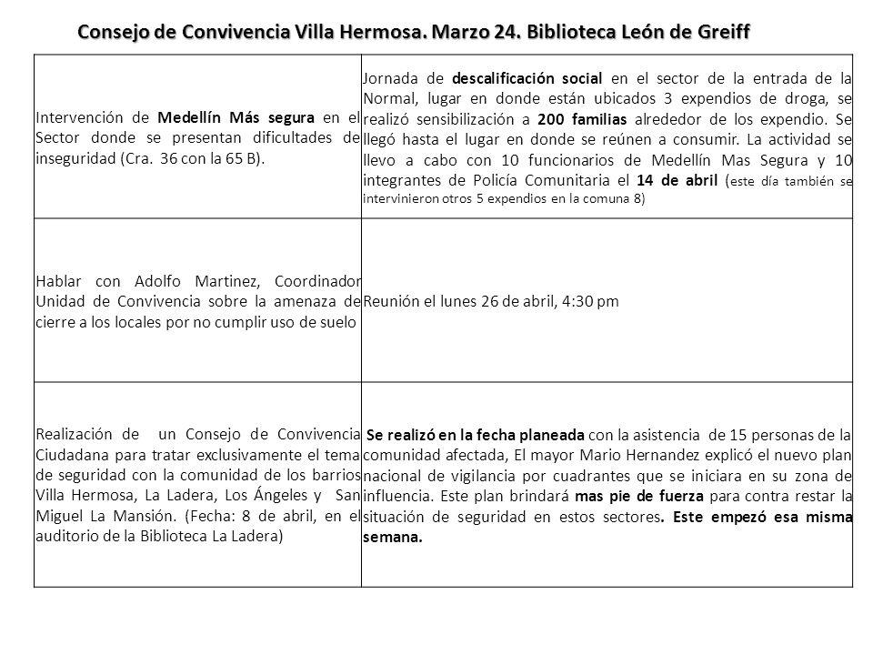 Consejo de Convivencia Villa Hermosa. Marzo 24. Biblioteca León de Greiff Intervención de Medellín Más segura en el Sector donde se presentan dificult