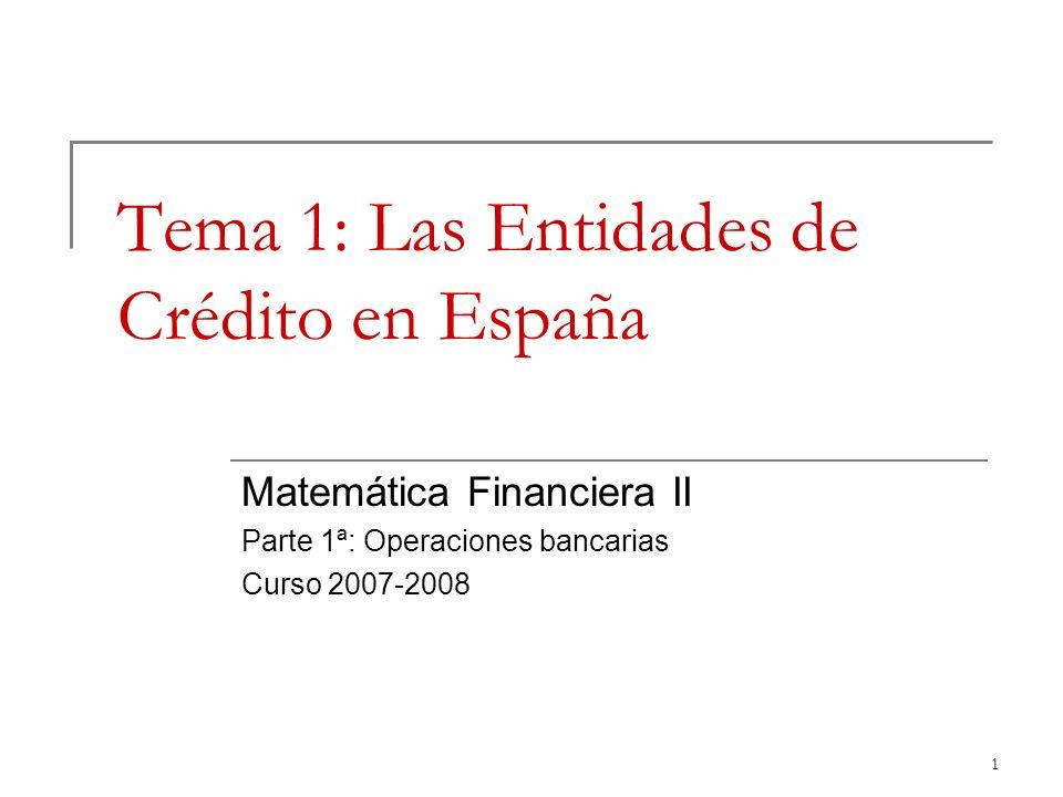 1 Tema 1: Las Entidades de Crédito en España Matemática Financiera II Parte 1ª: Operaciones bancarias Curso 2007-2008