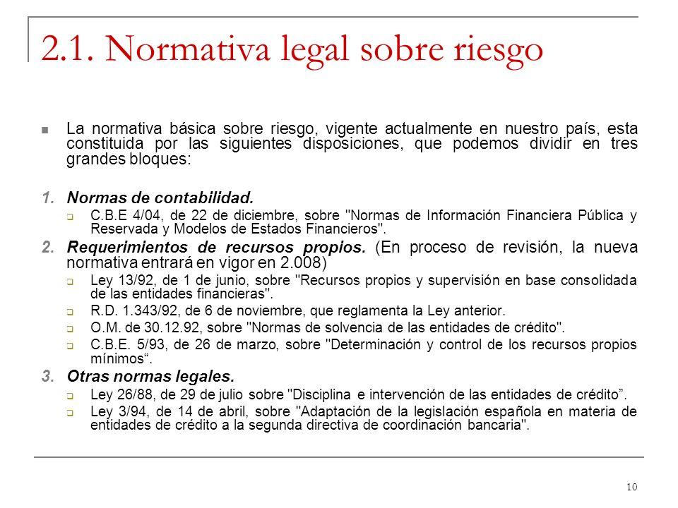 10 2.1. Normativa legal sobre riesgo La normativa básica sobre riesgo, vigente actualmente en nuestro país, esta constituida por las siguientes dispos
