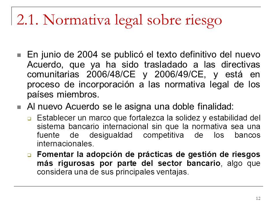 12 2.1. Normativa legal sobre riesgo En junio de 2004 se publicó el texto definitivo del nuevo Acuerdo, que ya ha sido trasladado a las directivas com