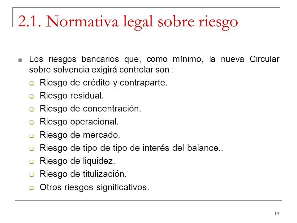 15 2.1. Normativa legal sobre riesgo Los riesgos bancarios que, como mínimo, la nueva Circular sobre solvencia exigirá controlar son : Riesgo de crédi
