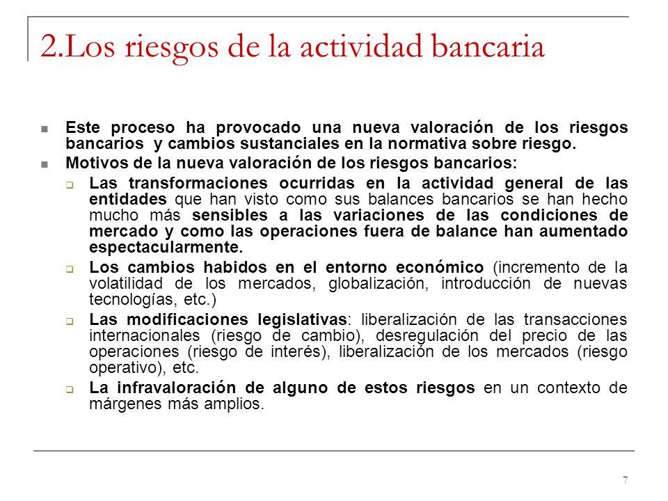 7 2.Los riesgos de la actividad bancaria Este proceso ha provocado una nueva valoración de los riesgos bancarios y cambios sustanciales en la normativ