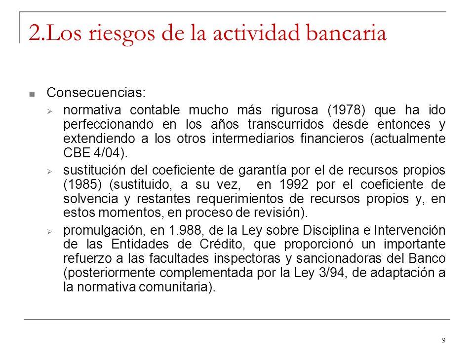 9 2.Los riesgos de la actividad bancaria Consecuencias: normativa contable mucho más rigurosa (1978) que ha ido perfeccionando en los años transcurridos desde entonces y extendiendo a los otros intermediarios financieros (actualmente CBE 4/04).