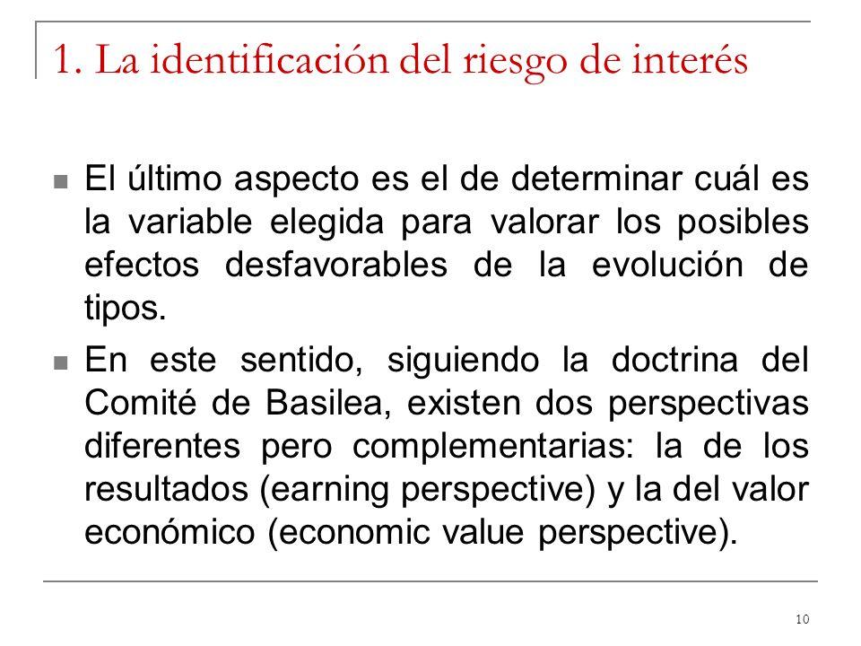 10 1. La identificación del riesgo de interés El último aspecto es el de determinar cuál es la variable elegida para valorar los posibles efectos desf