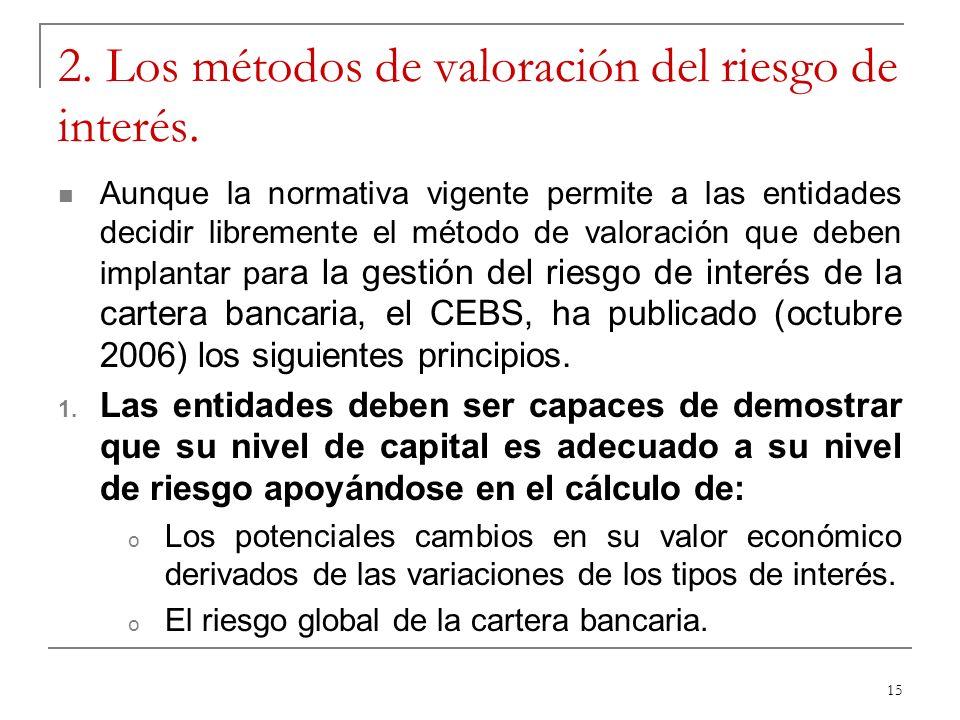 15 2. Los métodos de valoración del riesgo de interés. Aunque la normativa vigente permite a las entidades decidir libremente el método de valoración