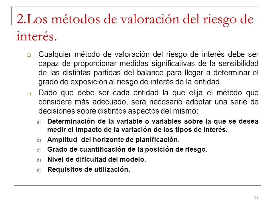 18 2.Los métodos de valoración del riesgo de interés. Cualquier método de valoración del riesgo de interés debe ser capaz de proporcionar medidas sign