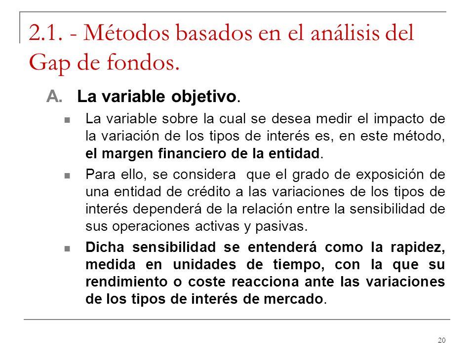 20 2.1. - Métodos basados en el análisis del Gap de fondos. A. La variable objetivo. La variable sobre la cual se desea medir el impacto de la variaci