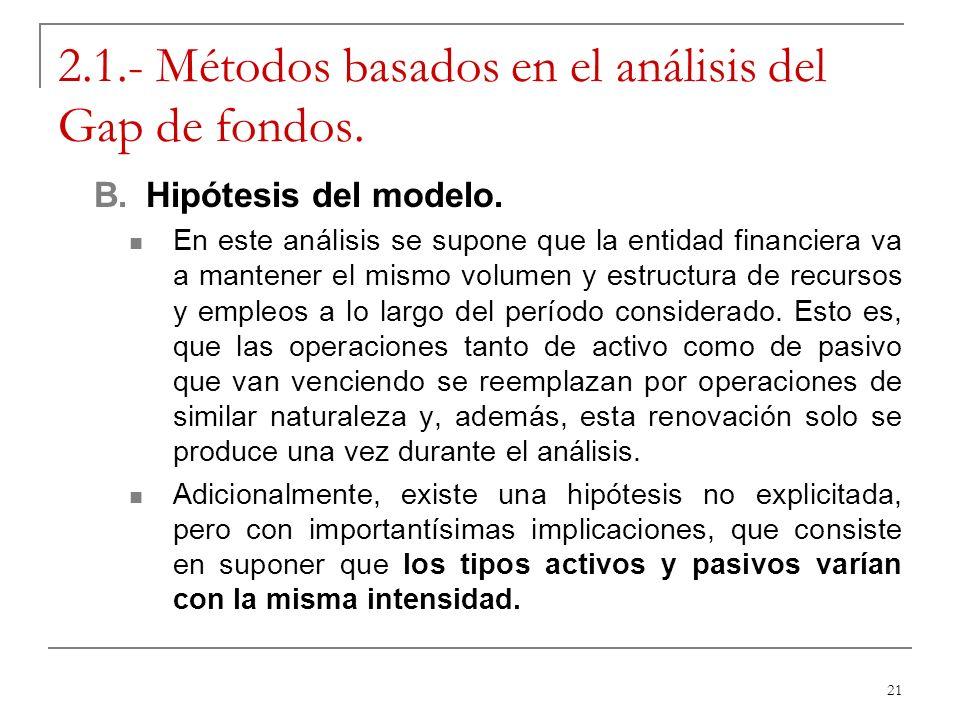 21 2.1.- Métodos basados en el análisis del Gap de fondos. B.Hipótesis del modelo. En este análisis se supone que la entidad financiera va a mantener