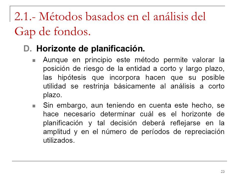 23 2.1.- Métodos basados en el análisis del Gap de fondos. D.Horizonte de planificación. Aunque en principio este método permite valorar la posición d