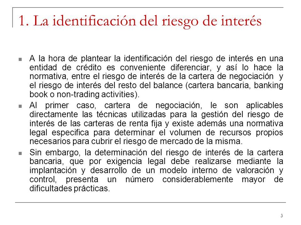 3 1. La identificación del riesgo de interés A la hora de plantear la identificación del riesgo de interés en una entidad de crédito es conveniente di