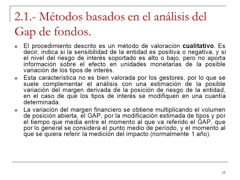 39 2.1.- Métodos basados en el análisis del Gap de fondos. El procedimiento descrito es un método de valoración cualitativo. Es decir, indica si la se