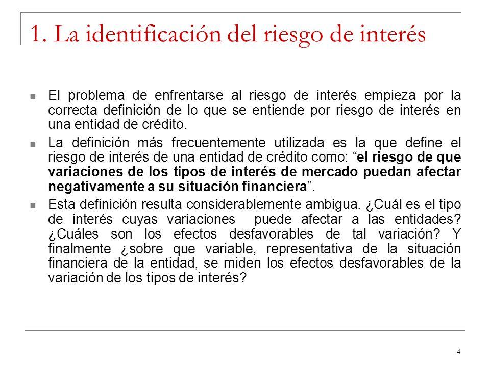 4 1. La identificación del riesgo de interés El problema de enfrentarse al riesgo de interés empieza por la correcta definición de lo que se entiende