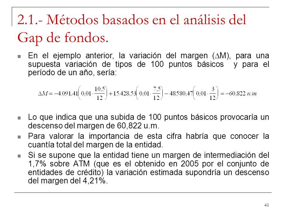 40 2.1.- Métodos basados en el análisis del Gap de fondos. En el ejemplo anterior, la variación del margen ( M), para una supuesta variación de tipos