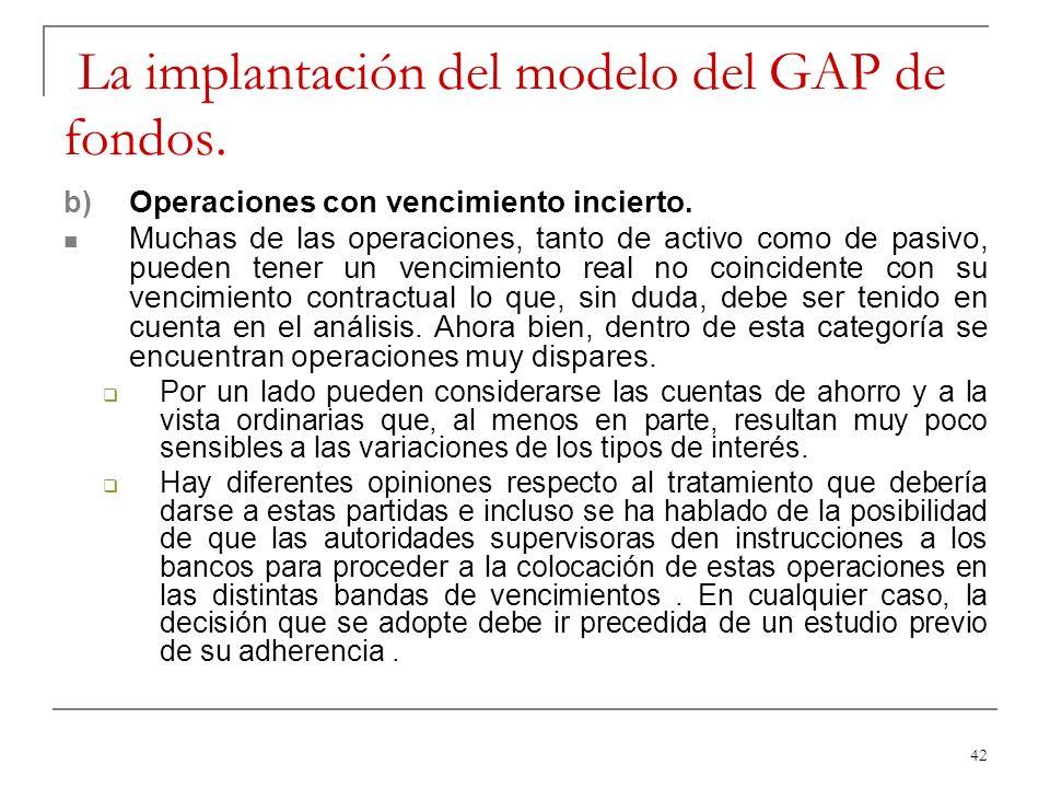 42 La implantación del modelo del GAP de fondos. b) Operaciones con vencimiento incierto. Muchas de las operaciones, tanto de activo como de pasivo, p
