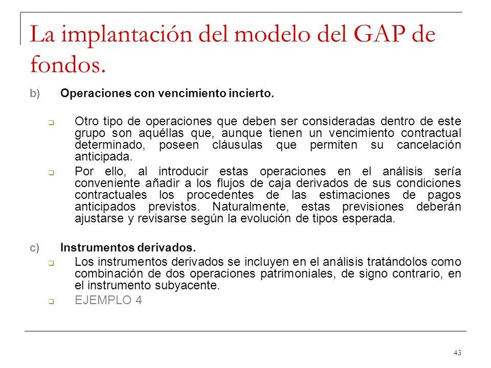 43 La implantación del modelo del GAP de fondos. b) Operaciones con vencimiento incierto. Otro tipo de operaciones que deben ser consideradas dentro d