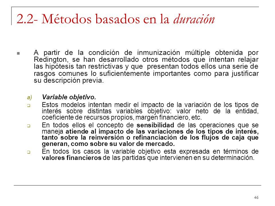 46 2.2- Métodos basados en la duración A partir de la condición de inmunización múltiple obtenida por Redington, se han desarrollado otros métodos que