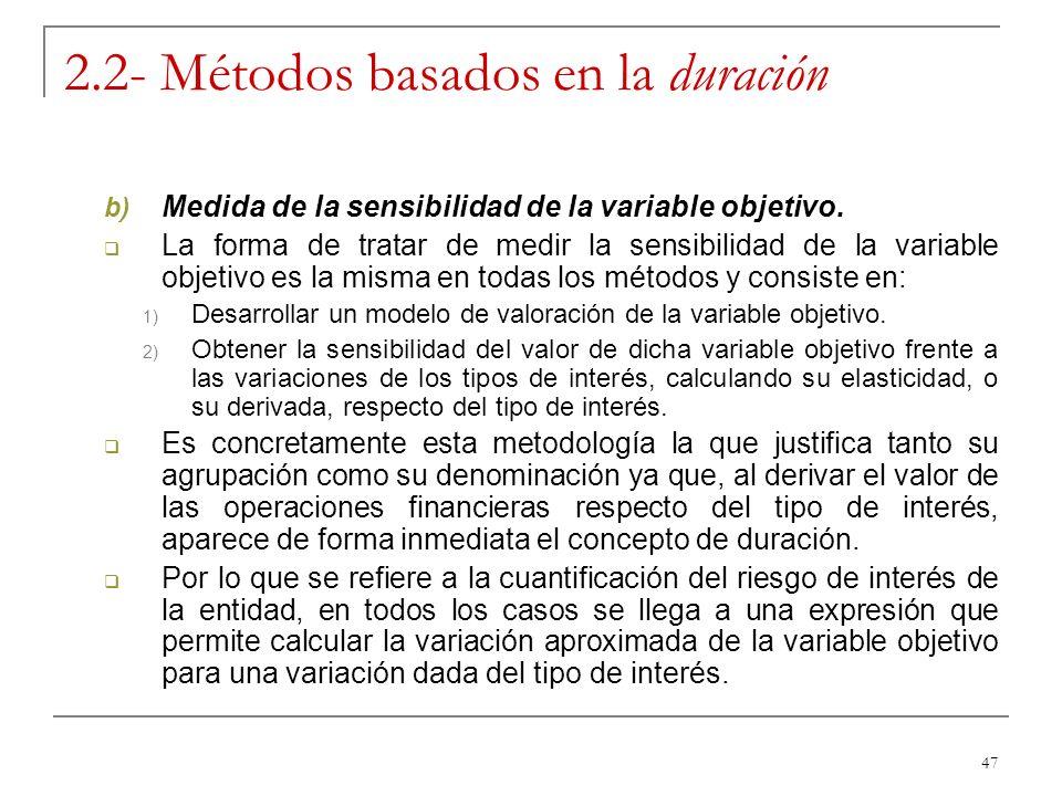 47 2.2- Métodos basados en la duración b) Medida de la sensibilidad de la variable objetivo. La forma de tratar de medir la sensibilidad de la variabl