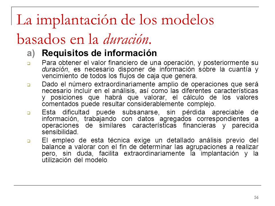 56 La implantación de los modelos basados en la duración. a)Requisitos de información. Para obtener el valor financiero de una operación, y posteriorm