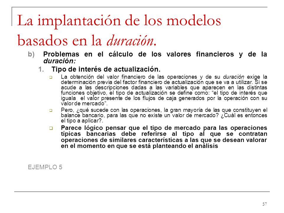 57 La implantación de los modelos basados en la duración. b)Problemas en el cálculo de los valores financieros y de la duración: 1.Tipo de interés de
