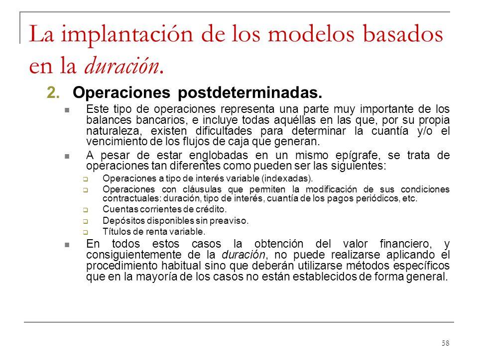 58 La implantación de los modelos basados en la duración. 2.Operaciones postdeterminadas. Este tipo de operaciones representa una parte muy importante