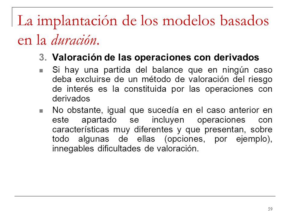 59 La implantación de los modelos basados en la duración. 3.Valoración de las operaciones con derivados Si hay una partida del balance que en ningún c