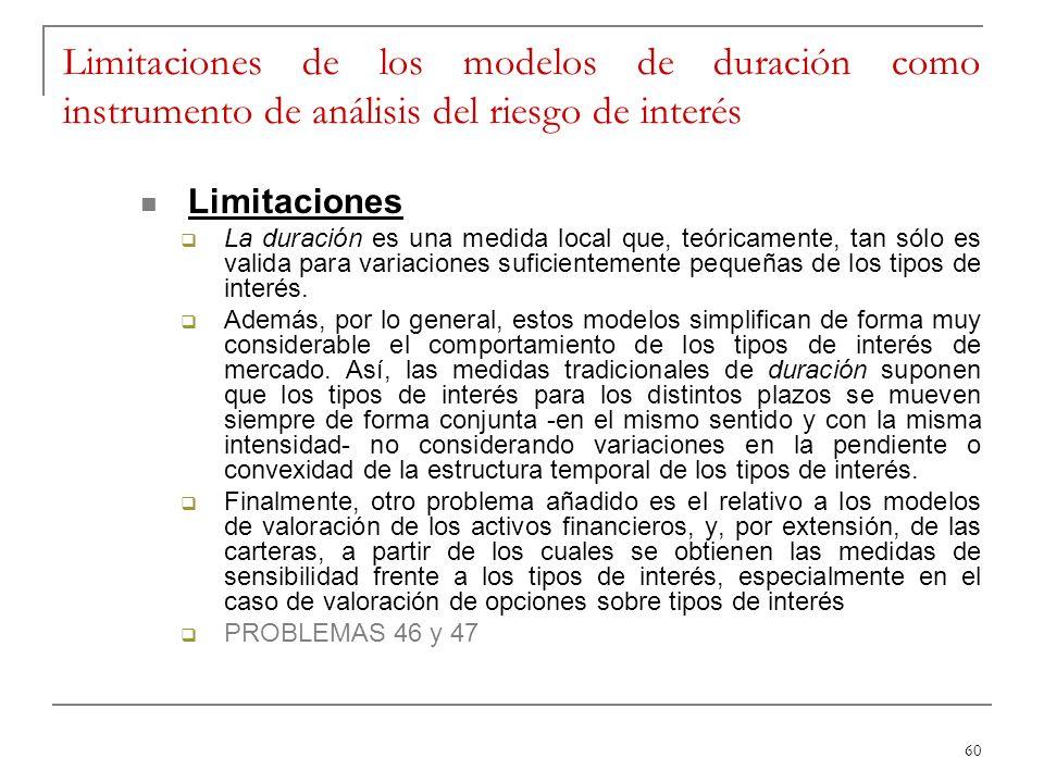 60 Limitaciones de los modelos de duración como instrumento de análisis del riesgo de interés Limitaciones La duración es una medida local que, teóric