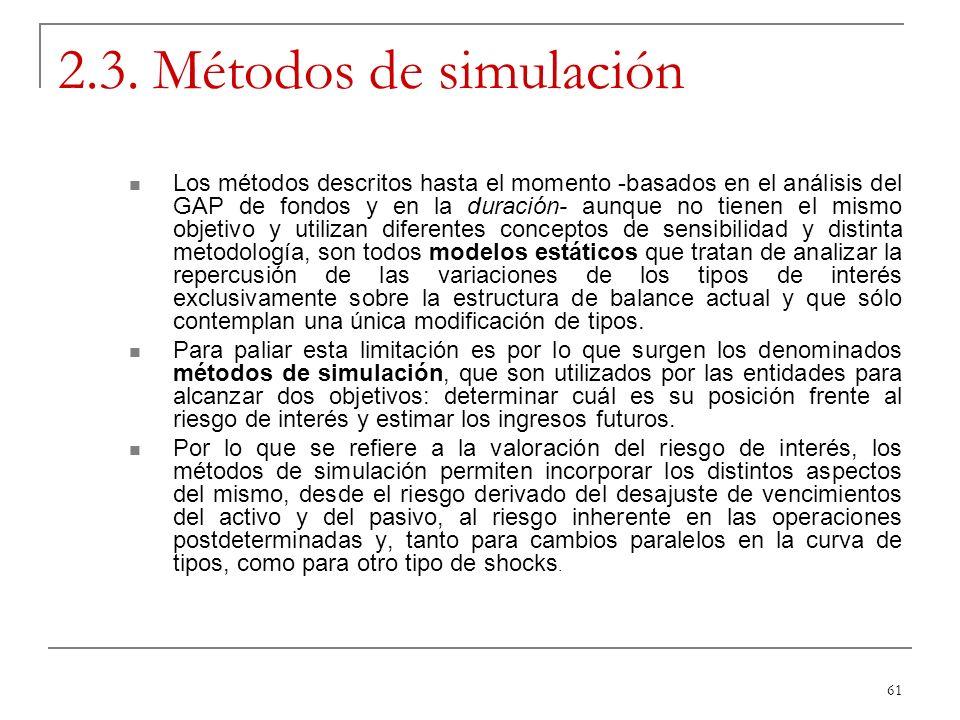 61 2.3. Métodos de simulación Los métodos descritos hasta el momento -basados en el análisis del GAP de fondos y en la duración- aunque no tienen el m