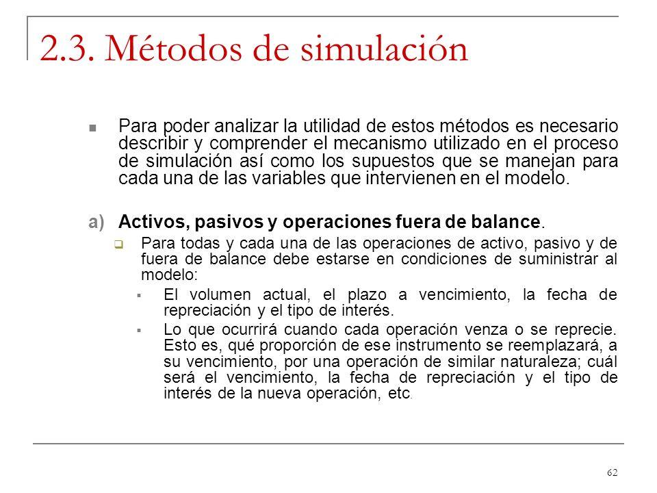 62 2.3. Métodos de simulación Para poder analizar la utilidad de estos métodos es necesario describir y comprender el mecanismo utilizado en el proces