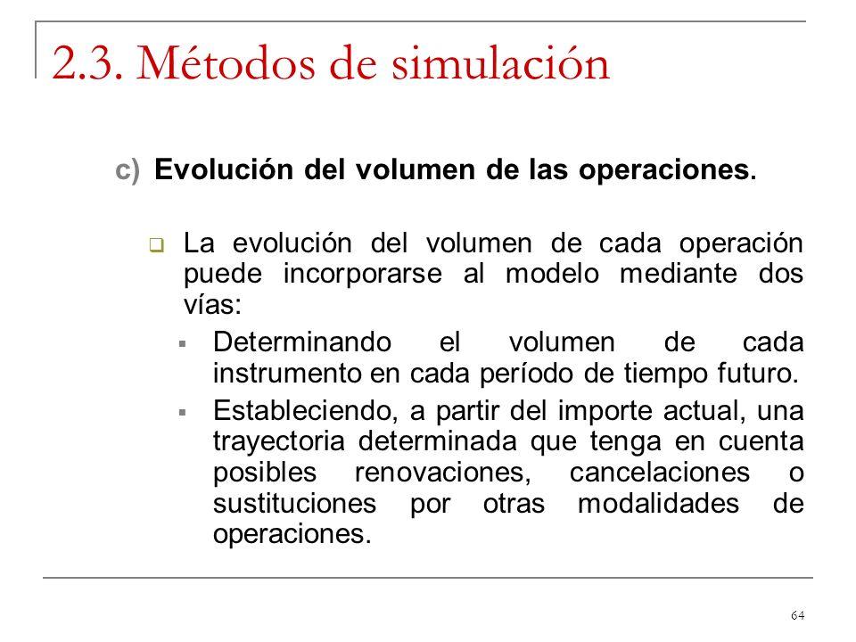 64 2.3. Métodos de simulación c)Evolución del volumen de las operaciones. La evolución del volumen de cada operación puede incorporarse al modelo medi