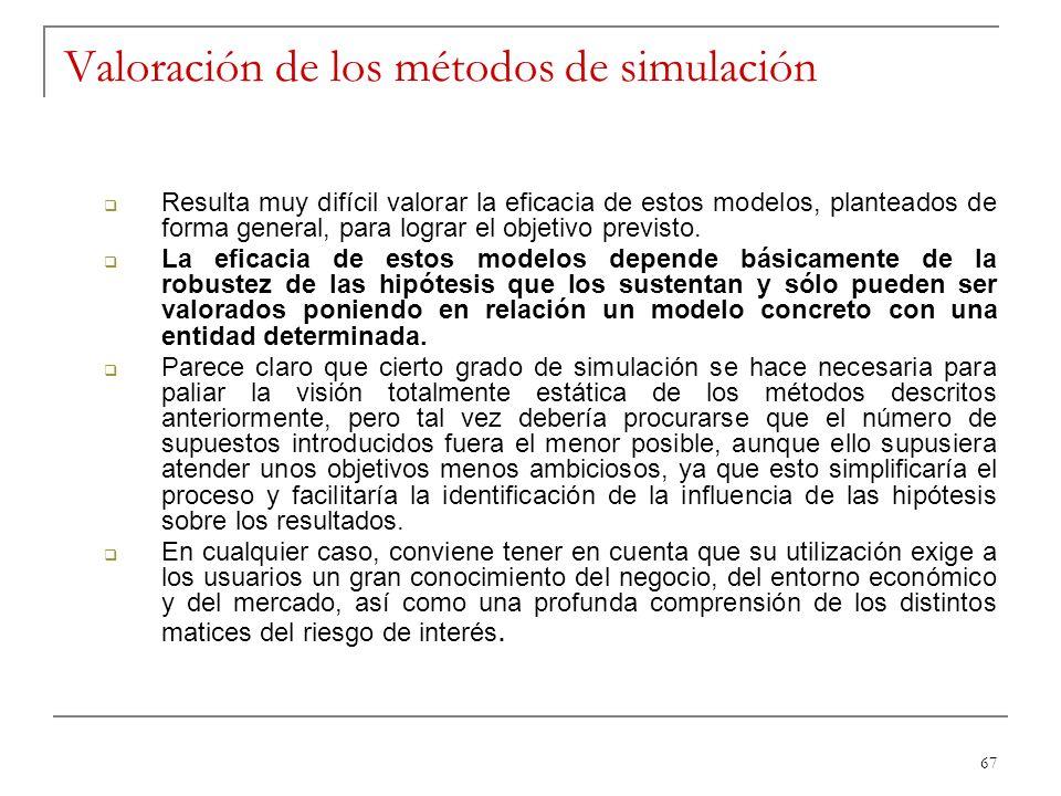 67 Valoración de los métodos de simulación Resulta muy difícil valorar la eficacia de estos modelos, planteados de forma general, para lograr el objet