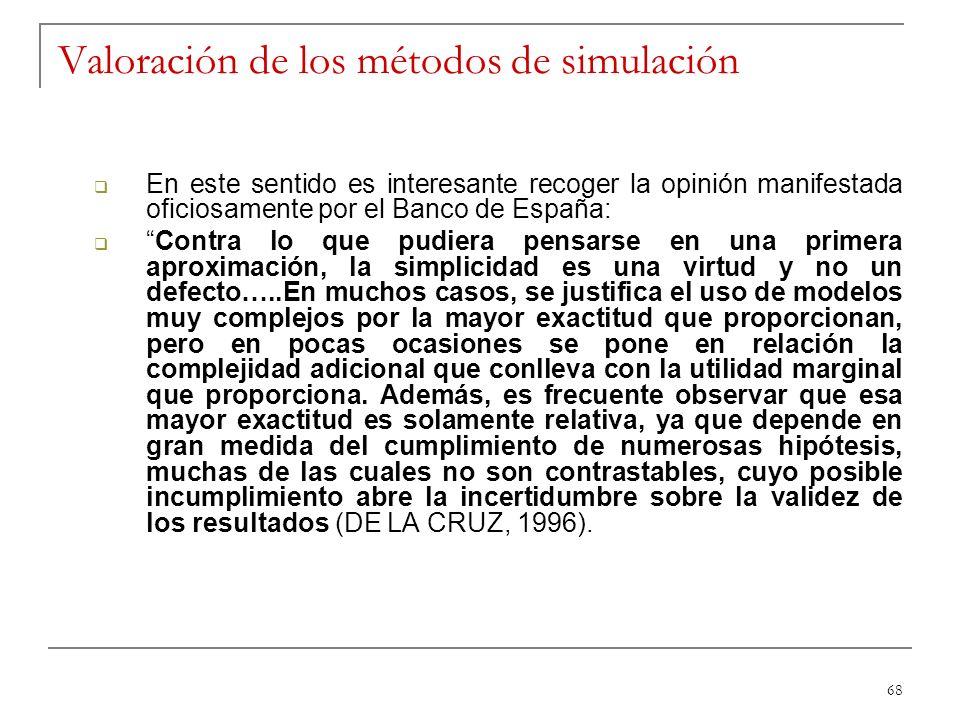 68 Valoración de los métodos de simulación En este sentido es interesante recoger la opinión manifestada oficiosamente por el Banco de España: Contra