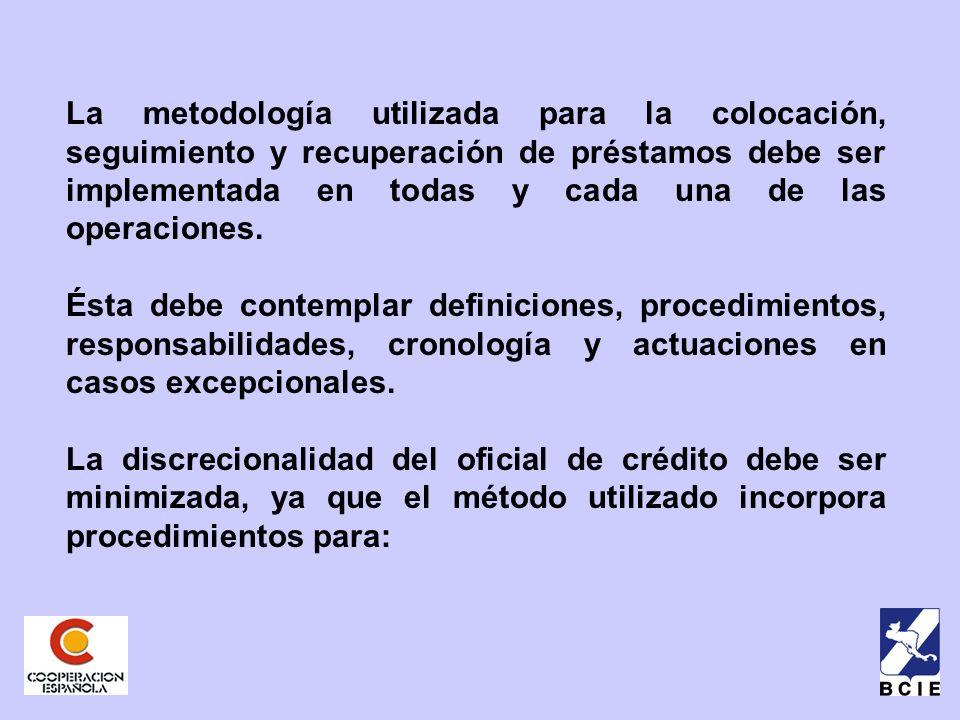 La metodología utilizada para la colocación, seguimiento y recuperación de préstamos debe ser implementada en todas y cada una de las operaciones.