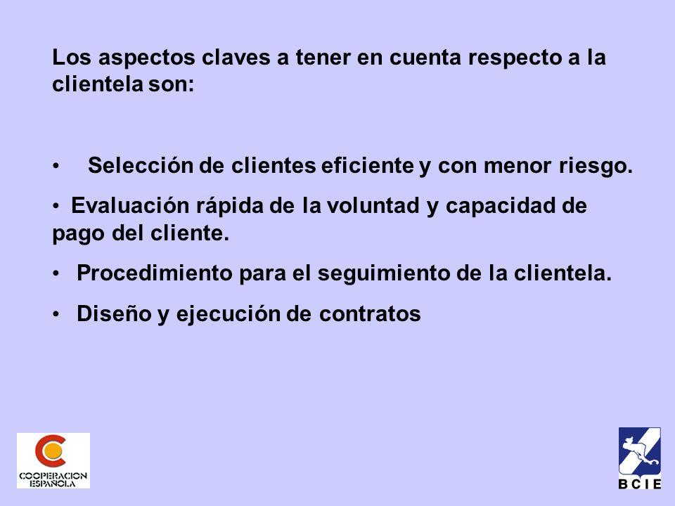 Los aspectos claves a tener en cuenta respecto a la clientela son: Selección de clientes eficiente y con menor riesgo.