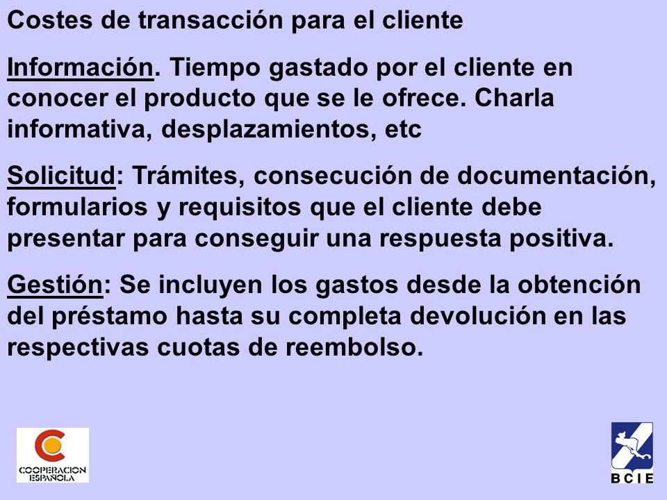 Costes de transacción para el cliente Información.