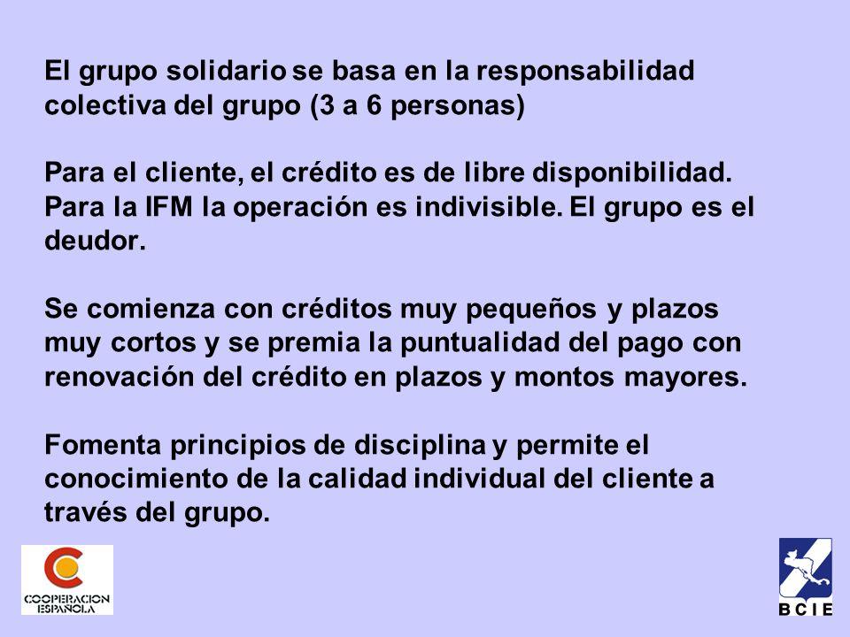El grupo solidario se basa en la responsabilidad colectiva del grupo (3 a 6 personas) Para el cliente, el crédito es de libre disponibilidad.