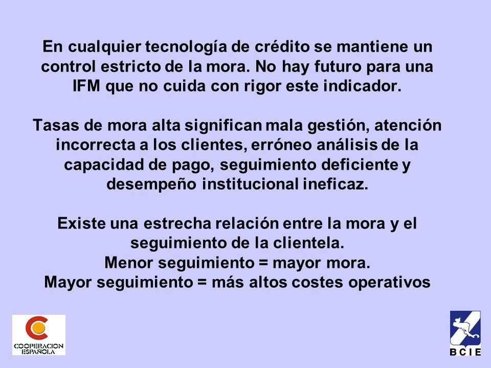 En cualquier tecnología de crédito se mantiene un control estricto de la mora.