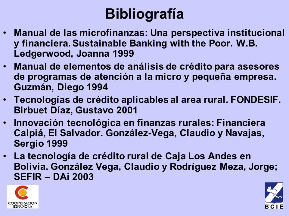 Bibliografía Manual de las microfinanzas: Una perspectiva institucional y financiera.