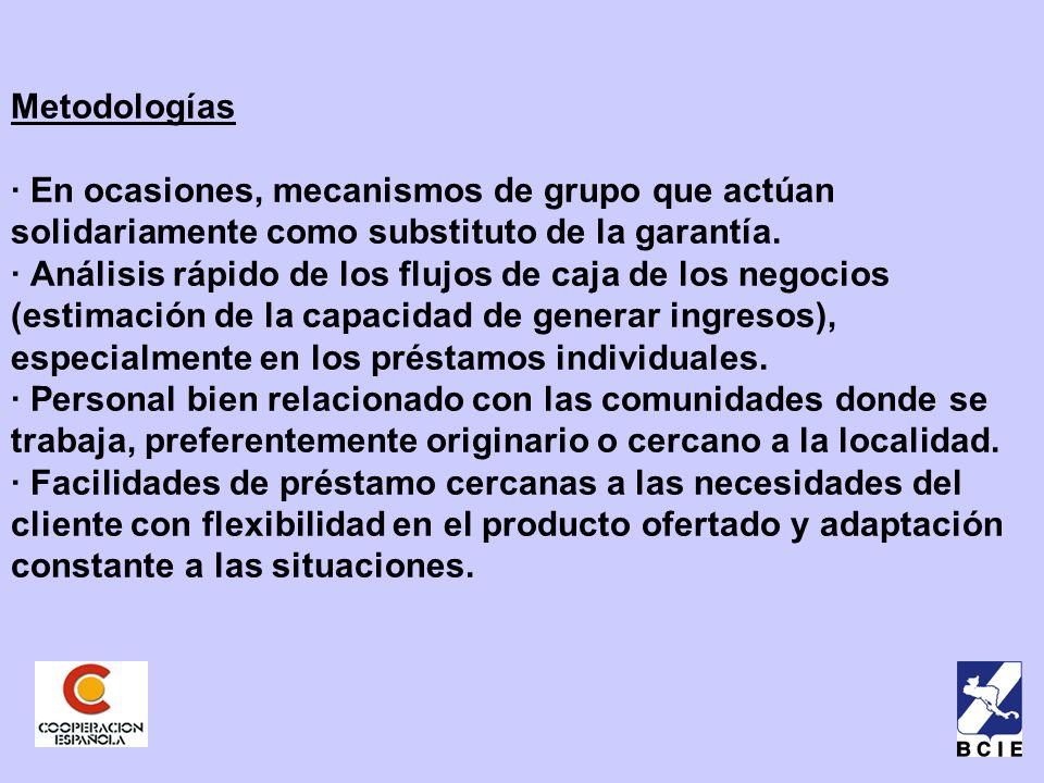 Metodologías · En ocasiones, mecanismos de grupo que actúan solidariamente como substituto de la garantía.