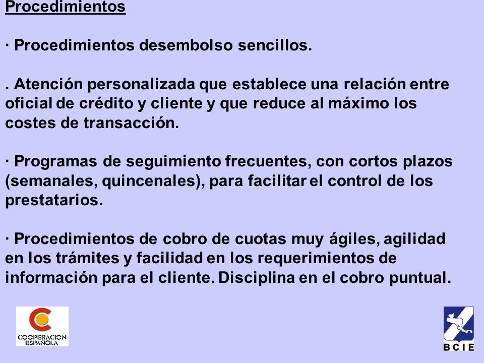 Procedimientos · Procedimientos desembolso sencillos..
