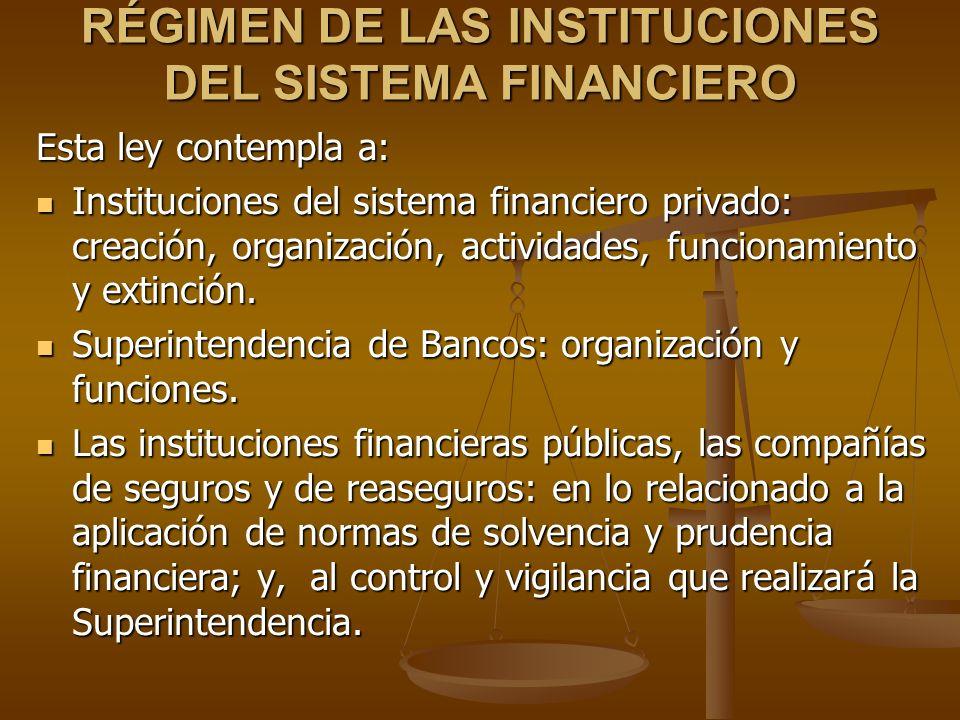 RÉGIMEN DE LAS INSTITUCIONES DEL SISTEMA FINANCIERO Esta ley contempla a: Instituciones del sistema financiero privado: creación, organización, activi