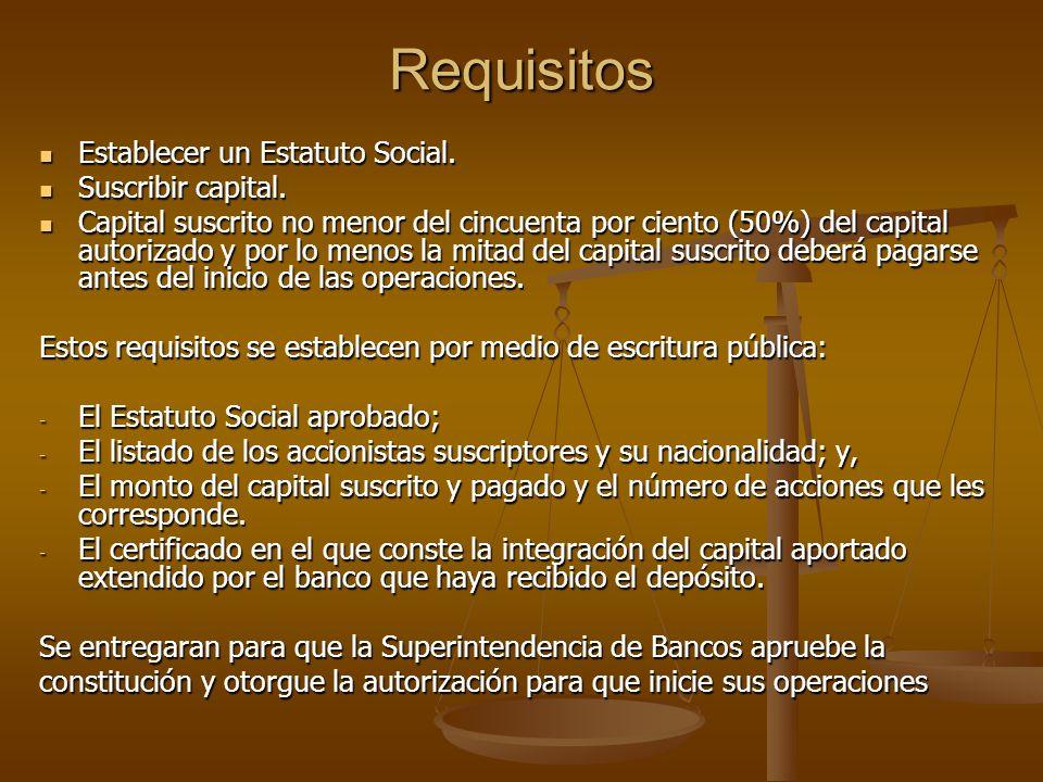Requisitos Establecer un Estatuto Social. Establecer un Estatuto Social. Suscribir capital. Suscribir capital. Capital suscrito no menor del cincuenta