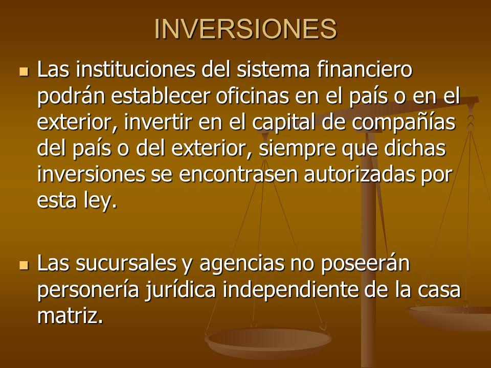 INVERSIONES Las instituciones del sistema financiero podrán establecer oficinas en el país o en el exterior, invertir en el capital de compañías del p