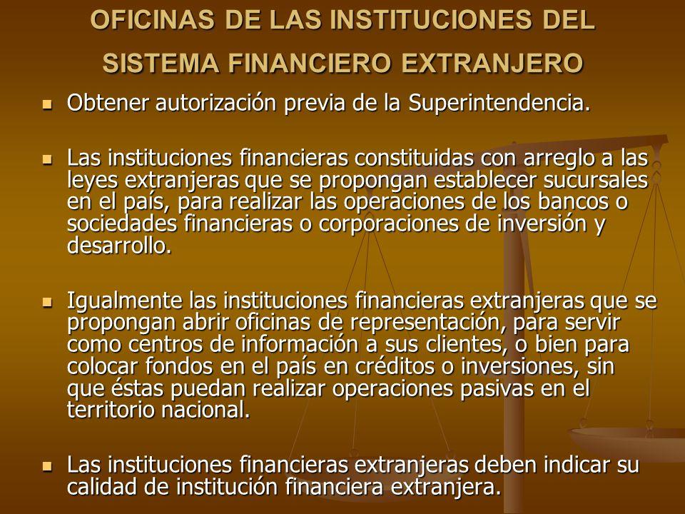 OFICINAS DE LAS INSTITUCIONES DEL SISTEMA FINANCIERO EXTRANJERO Obtener autorización previa de la Superintendencia. Obtener autorización previa de la