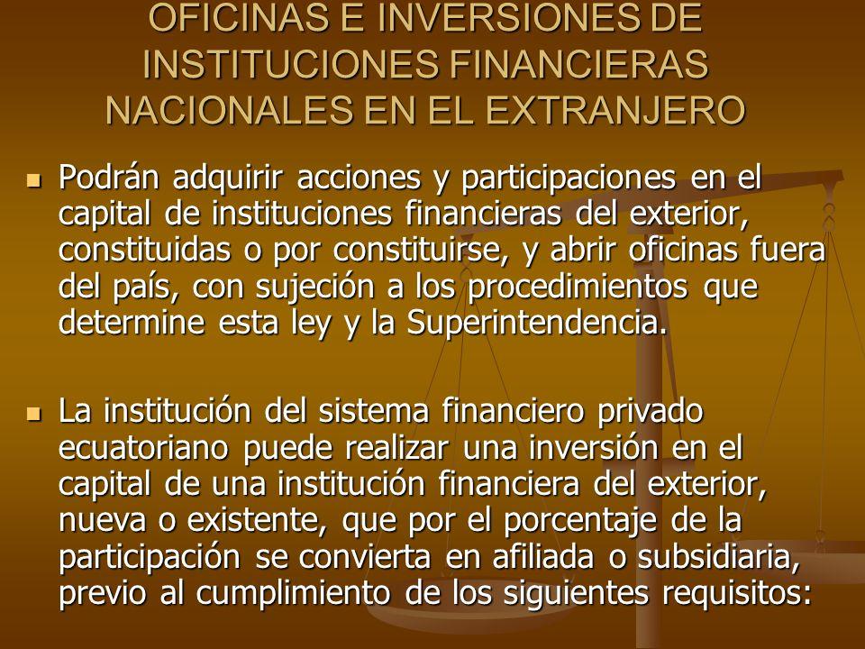 OFICINAS E INVERSIONES DE INSTITUCIONES FINANCIERAS NACIONALES EN EL EXTRANJERO Podrán adquirir acciones y participaciones en el capital de institucio