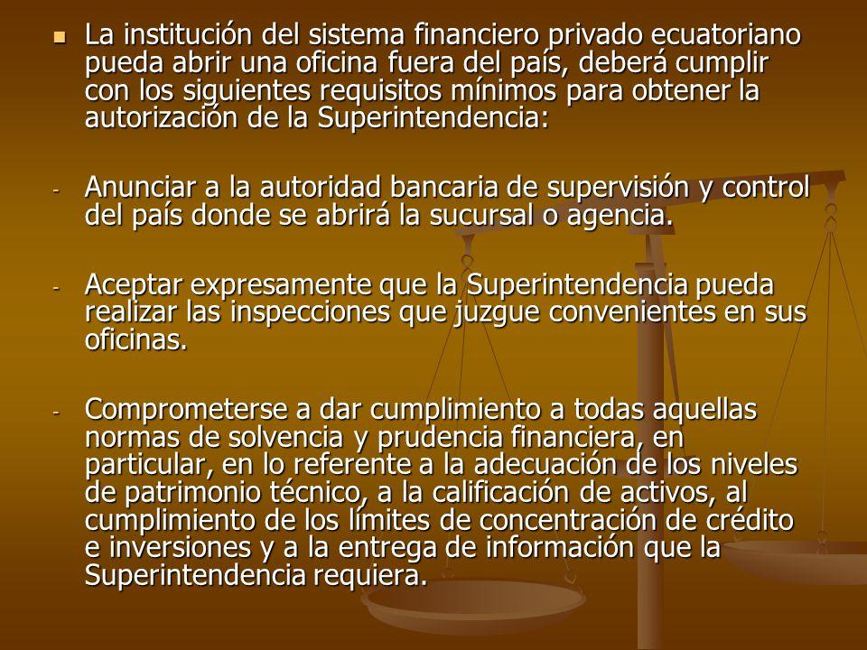 La institución del sistema financiero privado ecuatoriano pueda abrir una oficina fuera del país, deberá cumplir con los siguientes requisitos mínimos